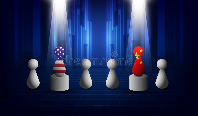 美国和中国贸易关系,合作战略 美国美国和中国旗子 也corel凹道例证向量 向量例证