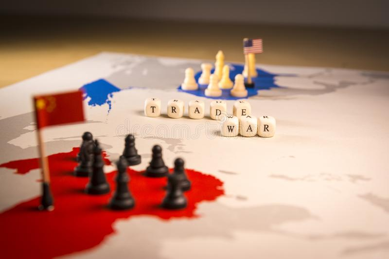 美国和中国贸易战概念 免版税库存照片
