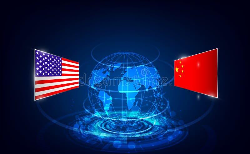 美国和中国贸易战 全球企业概念 r 向量例证