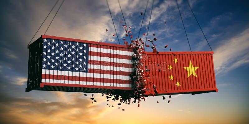 美国和中国贸易战 美国的美国和中国旗子碰撞了在天空的容器在日落背景 图库摄影