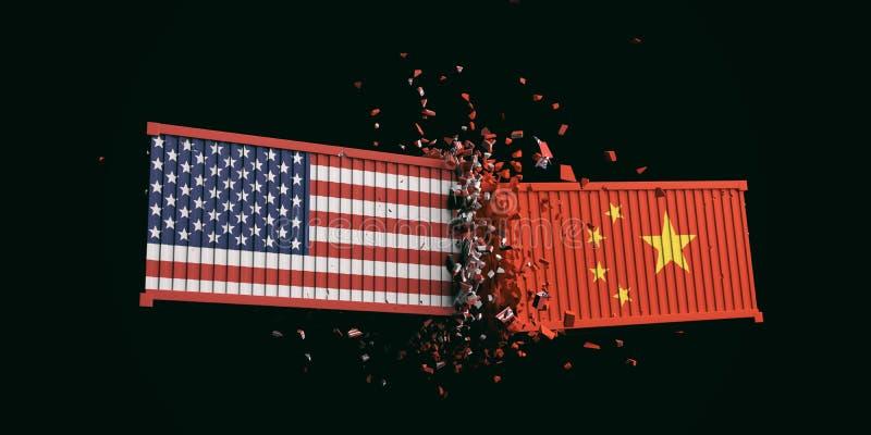 美国和中国贸易战 美国的美国和中国旗子碰撞了在黑背景的容器 向量例证