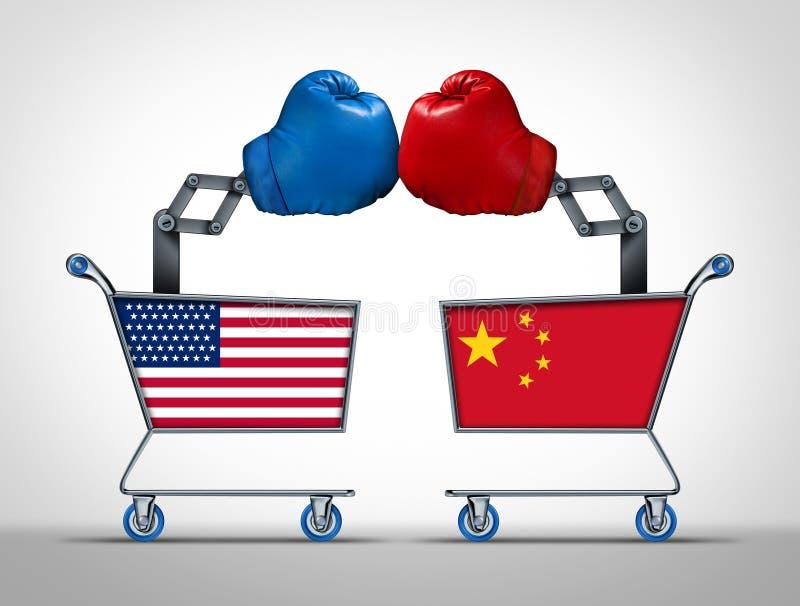 美国和中国贸易战 皇族释放例证