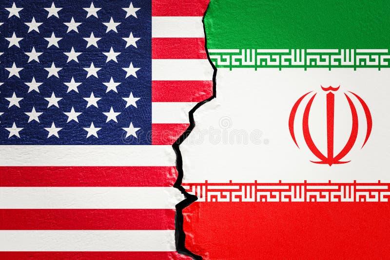 美国和伊朗冲突概念, 3D 皇族释放例证