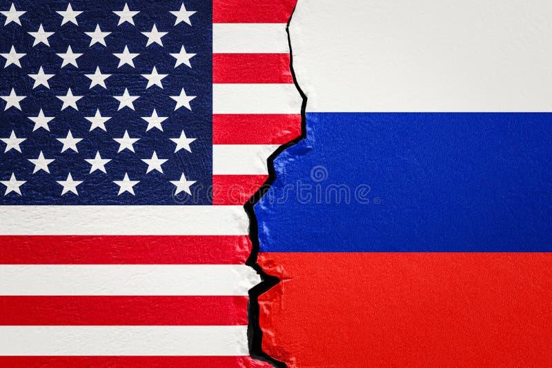 美国和俄罗斯冲突概念, 3D 库存例证