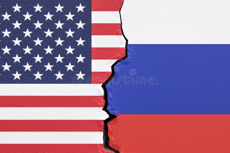 美国和俄罗斯,政治冲突概念 3d翻译 库存例证