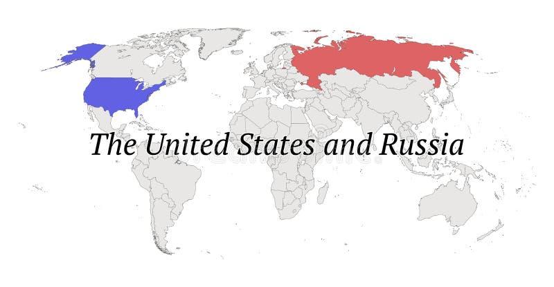美国和俄罗斯 等高世界地图 所有国家和海岛 ?? 皇族释放例证