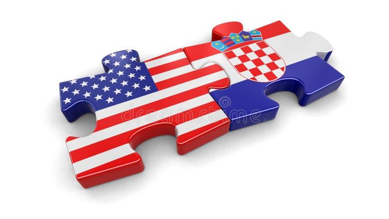 美国和克罗地亚难题从旗子 向量例证