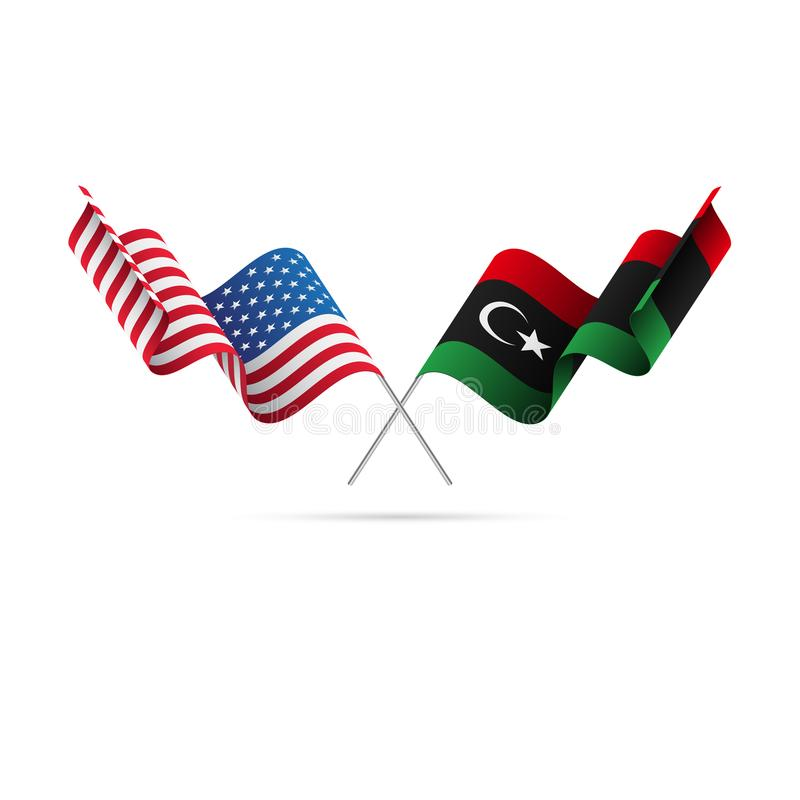 美国和利比亚旗子 也corel凹道例证向量 向量例证