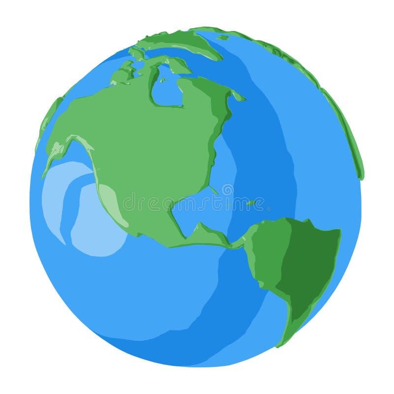 美国和加拿大动画片地球例证的3D海报或光滑的象的 皇族释放例证