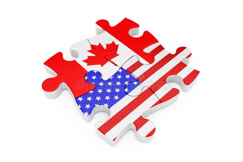 美国和加拿大合作难题作为旗子 3d?? 库存例证