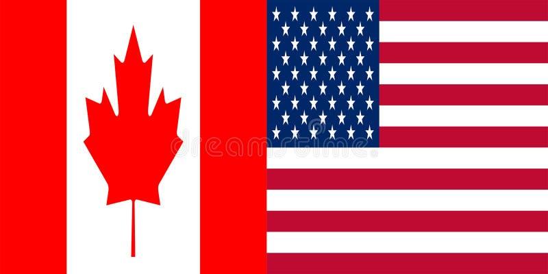 美国和加拿大旗子 皇族释放例证