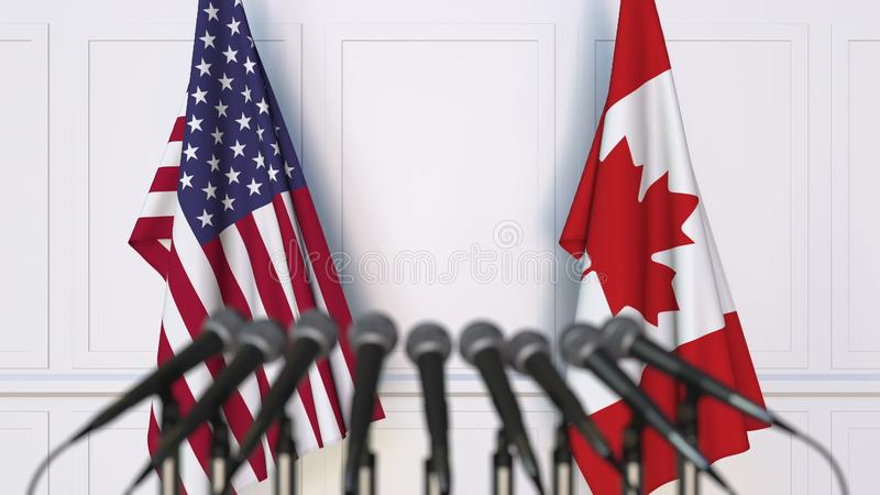 美国和加拿大的旗子在国际会议或会议上 3d翻译 库存例证