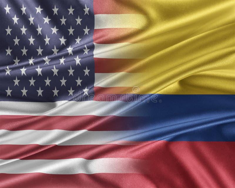 美国和哥伦比亚 库存例证