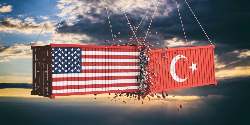 美国和土耳其贸易战 美国的美国和土耳其旗子碰撞了在天空的容器在日落背景 3d例证 向量例证