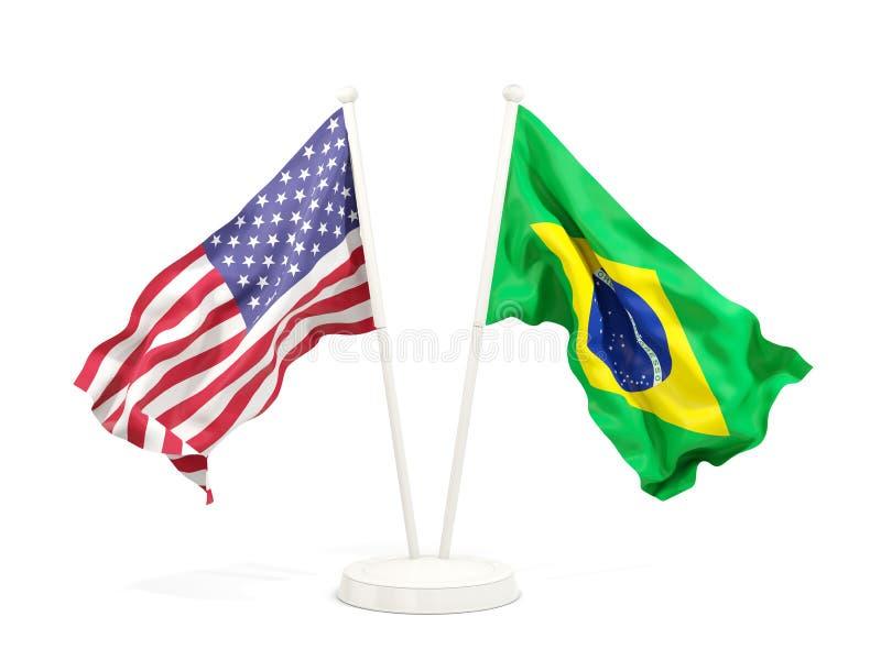 美国和巴西的两面挥动的旗子 皇族释放例证