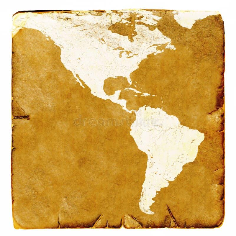 美国和拉美空白地图在老牌 布朗图表在古老和损坏的纸的一个减速火箭的方式下 eart的基本的图象 皇族释放例证