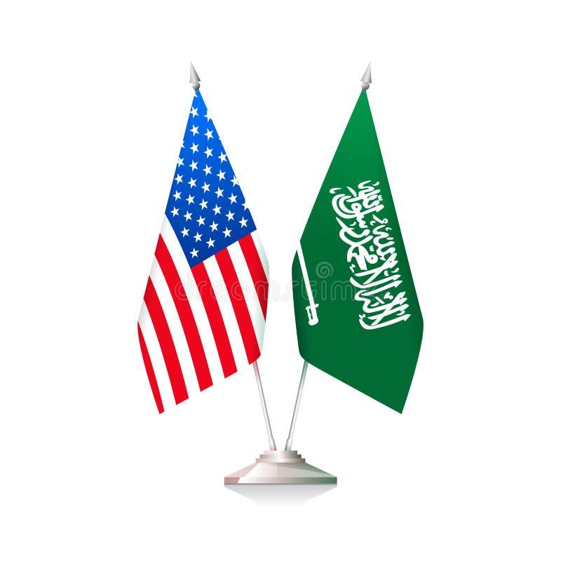 美国和沙特阿拉伯旗子 皇族释放例证