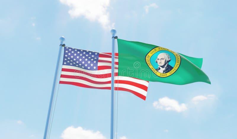 美国和状态华盛顿,挥动反对天空蔚蓝的两面旗子 皇族释放例证