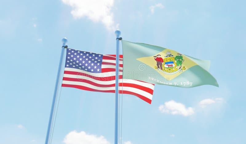 美国和状态特拉华,挥动反对天空蔚蓝的两面旗子 向量例证