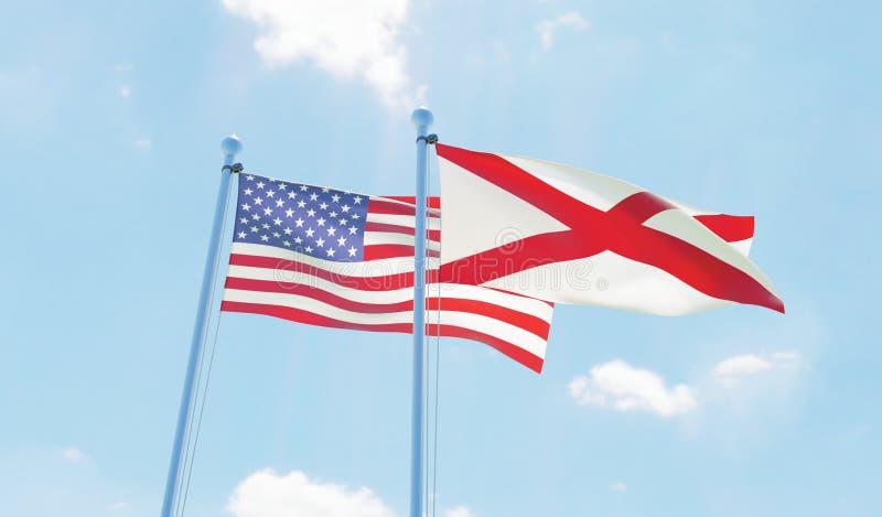美国和状态阿拉巴马,挥动反对天空蔚蓝的两面旗子 向量例证
