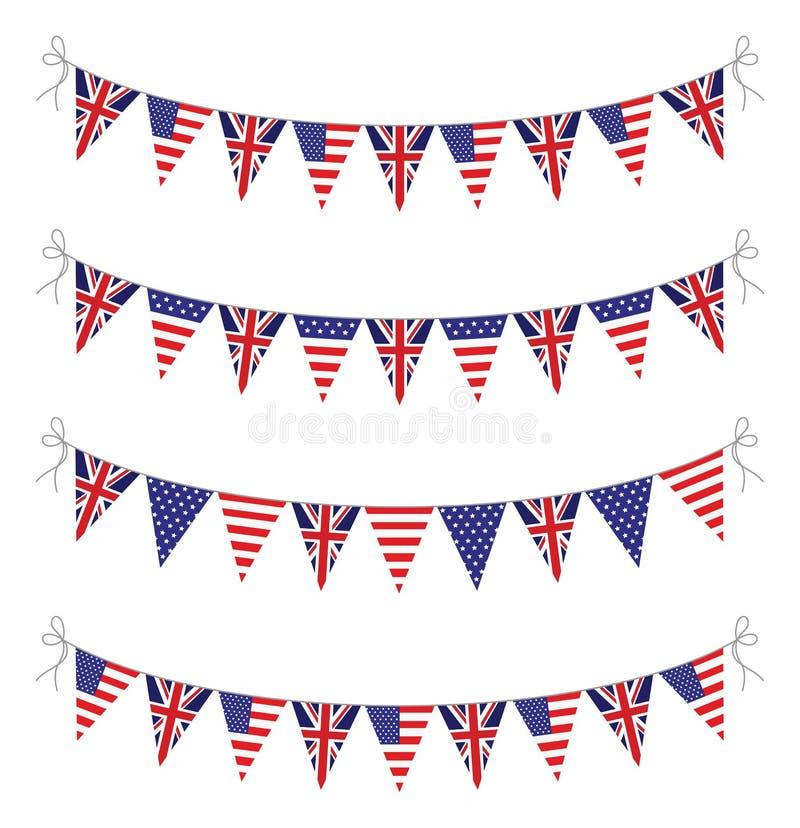 美国和英国旗布 库存例证