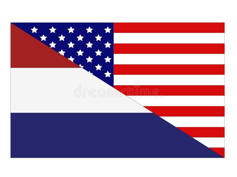 美国和荷兰旗子 皇族释放例证