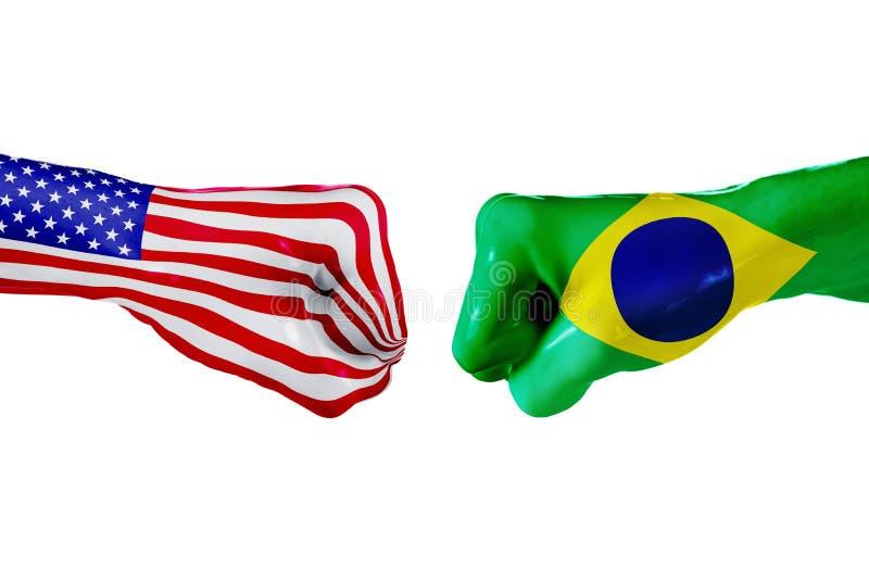美国和巴西旗子 概念战斗、企业竞争、冲突或者体育比赛 库存图片