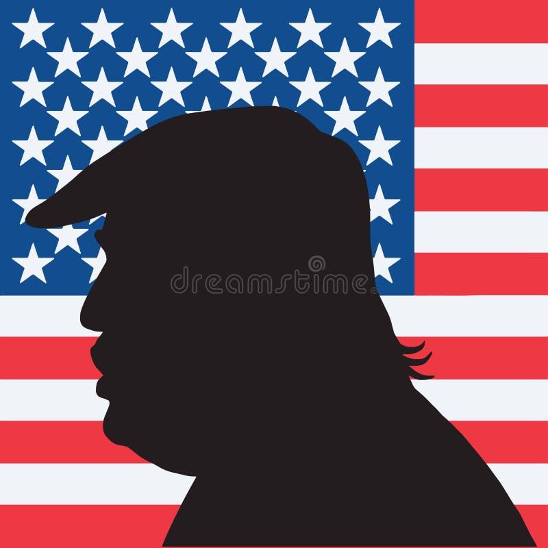 美国唐纳德・川普画象剪影的第45位总统与美国国旗的