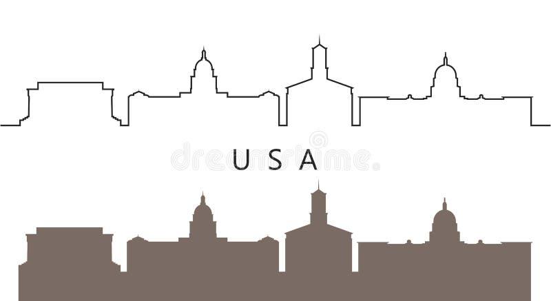 美国商标 在白色背景的被隔绝的美国建筑学 向量例证