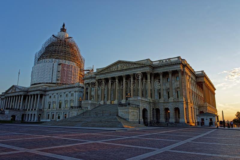 美国国会大厦和重建工作 免版税库存照片