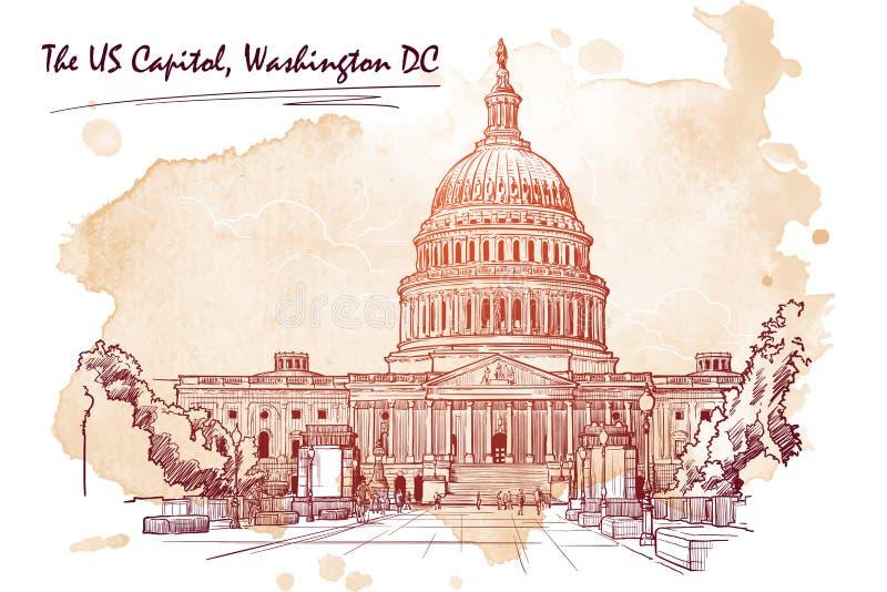 美国国会大厦的全景 在难看的东西斑点的剪影 EPS10向量例证 皇族释放例证