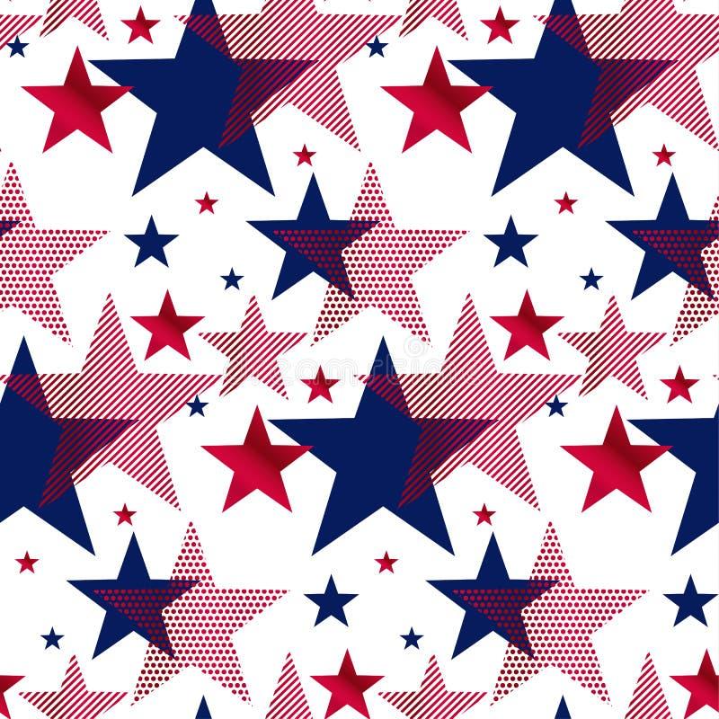 美国国家标志担任主角无缝的样式 库存例证