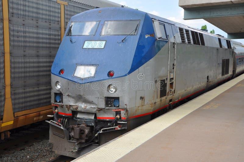 美国国家铁路公司机车在西勒鸠斯,纽约 免版税图库摄影