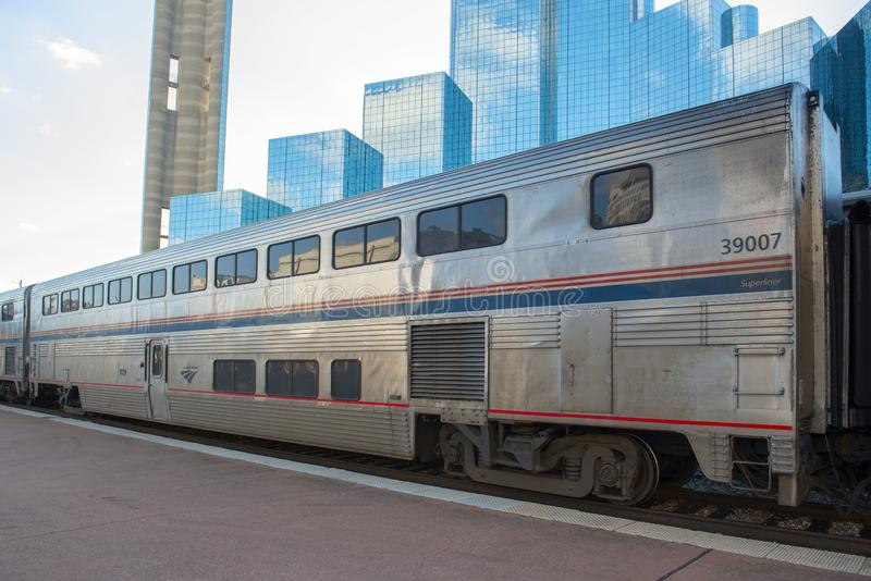 美国国家铁路公司睡车在达拉斯,得克萨斯,美国 免版税图库摄影