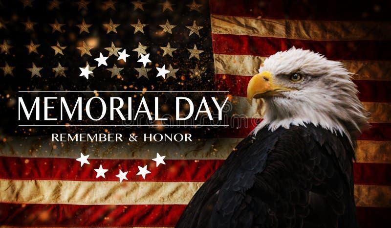 美国国旗与文本阵亡将士纪念日 库存照片
