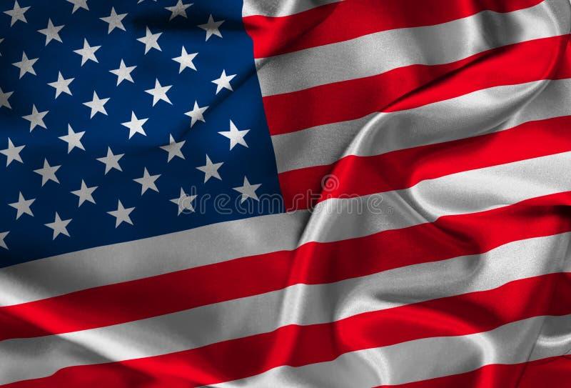 美国国旗丝绸 向量例证