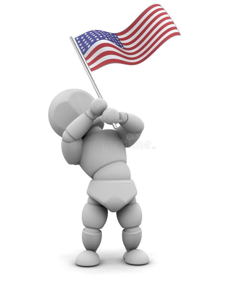 美国国旗人 库存例证