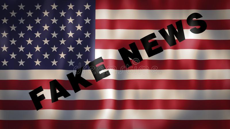 美国国旗以使使用的词假新闻,理想的英尺长度媒介敏感为了不操作和 库存例证