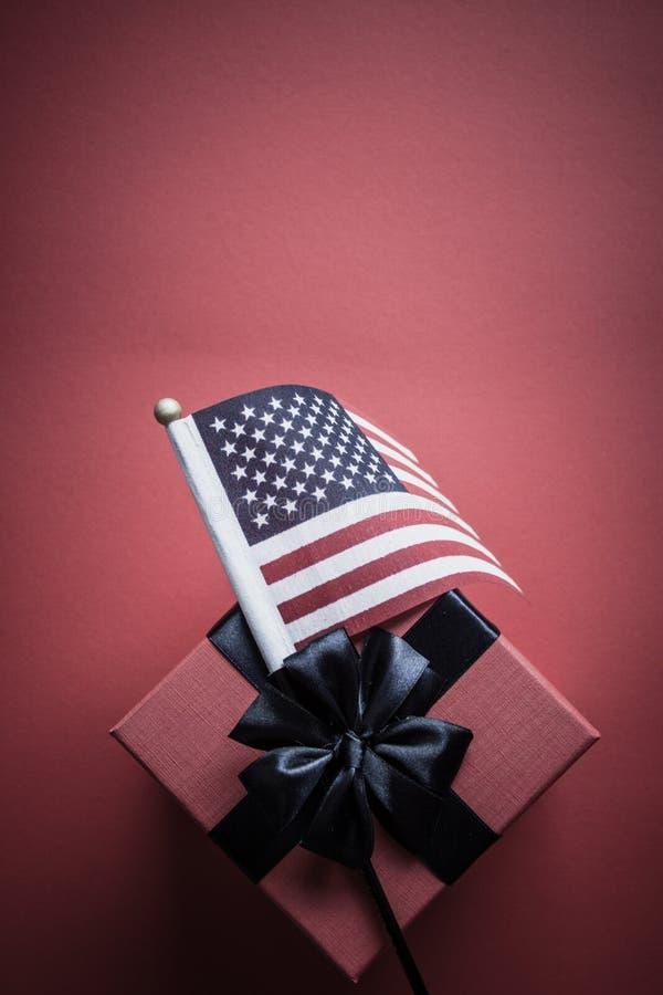 美国国旗和礼物盒 免版税库存图片