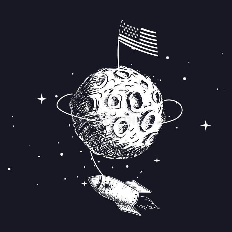 美国国旗在月亮 皇族释放例证