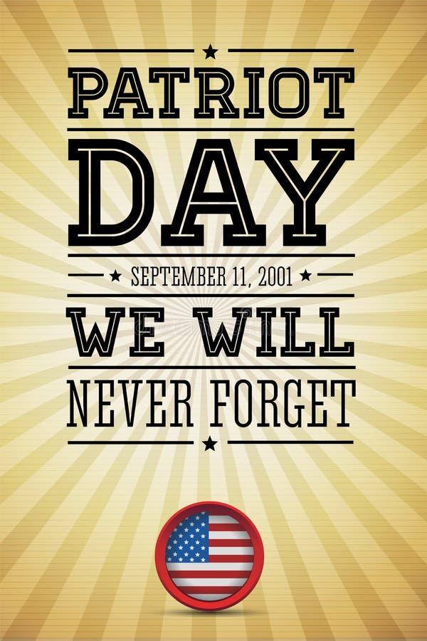 美国国旗措辞爱国者日2001年9月11日 向量例证