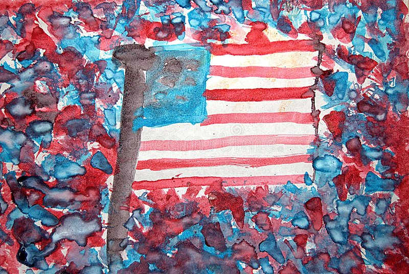 美国国旗水彩 免版税库存照片