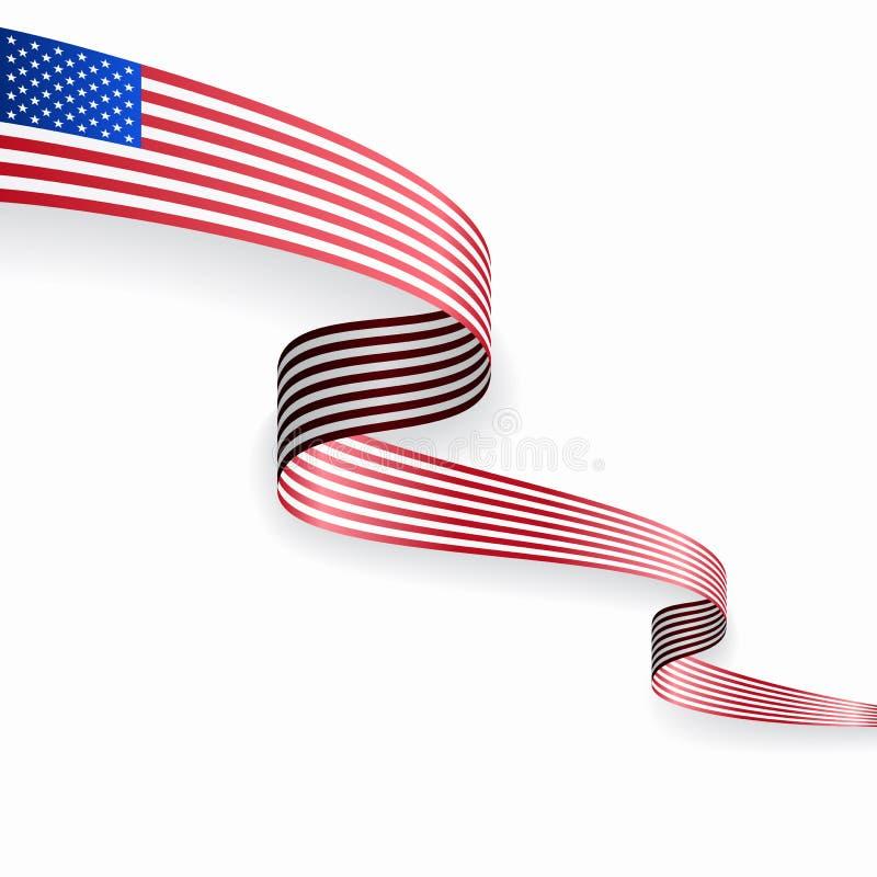 美国国旗波浪抽象背景 r 库存例证