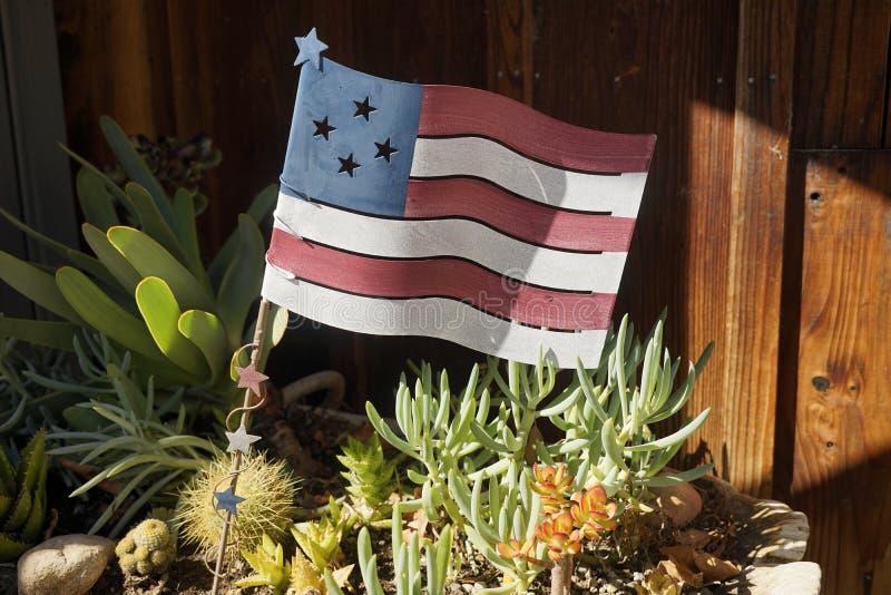 美国国旗的钢做的模型 免版税库存图片