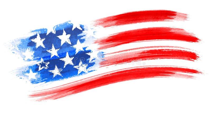 美国国旗绘画,刷子冲程作为一个层状传染媒介文件 库存照片