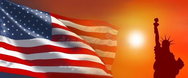 download 美国国旗自由雕象 库存例证.