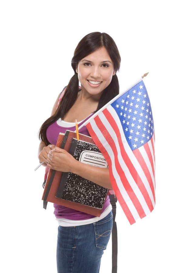 美国国旗西班牙国家少年 图库摄影