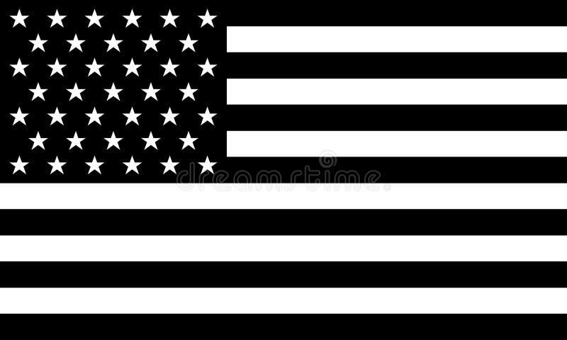 美国国旗黑白传染媒介 库存例证