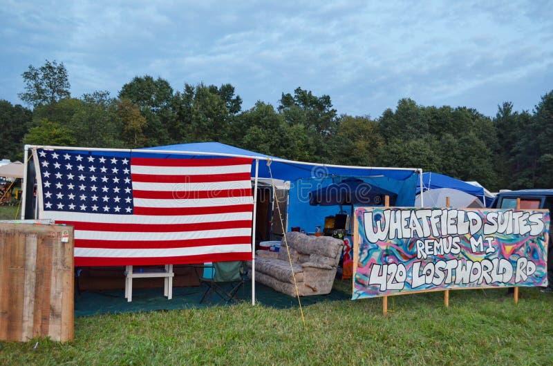 美国国旗,失去的世界营地, Wheatland音乐节 免版税图库摄影