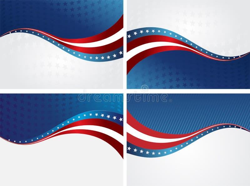 美国国旗,独立的传染媒介背景 库存例证